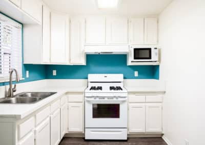Bright blue painted backsplash behind white quartz, cabinets, and appliances