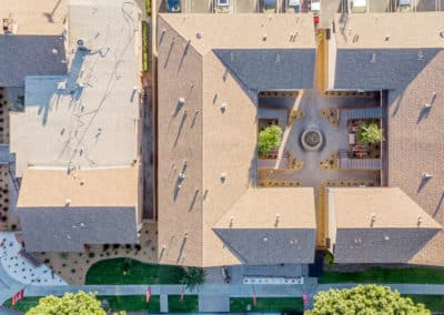 Drone view of office and a courtyard