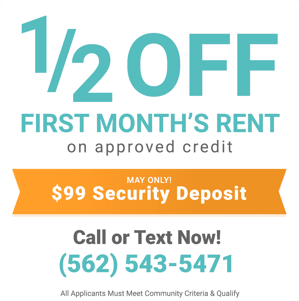 1/2 off first month's rent on approved credit